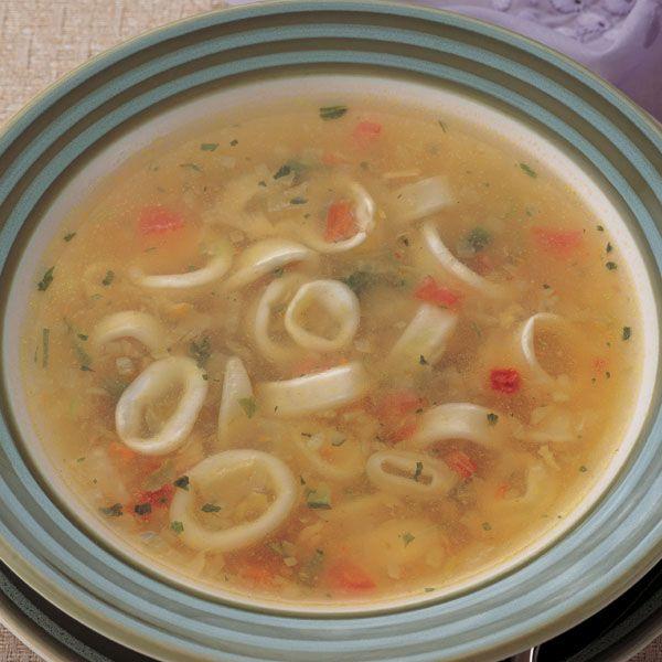 Пісний овочевий суп з креветками і кальмарами «Морський блюз»