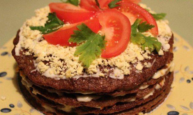 Торт з курячої печінки