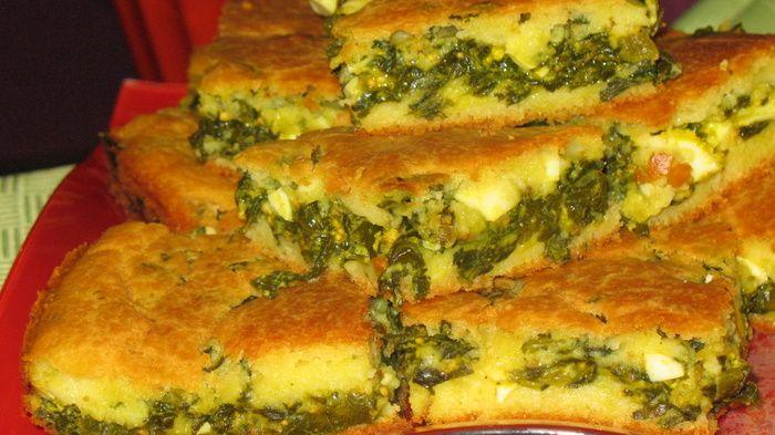 Швидкий заливний пиріг зі шпинатом